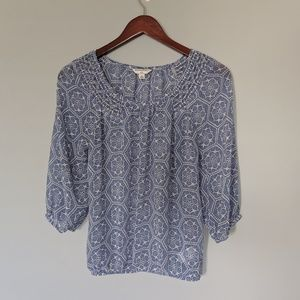 Banana Republic Medallion Light Blue Print Blouse